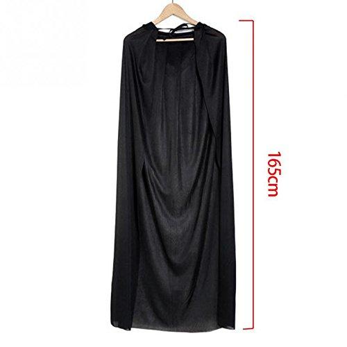 Black Halloween Costume Theater Prop Death Hoody Cloak Devil Long Tippet Cape -Pier 27