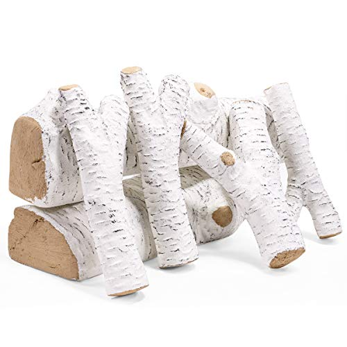 Barton Ceramic Wood Fireplace Decoration 6-Piece of Ceramic Birch Wood Fireplace Log Gas Vented Insert Realistic Logs Set