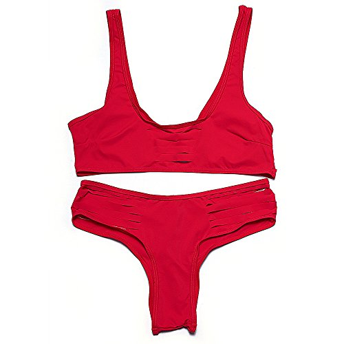 PUamp;PU Frauen Strand Riemen Bikinis Zwei Stücke Set Badeanzug ...