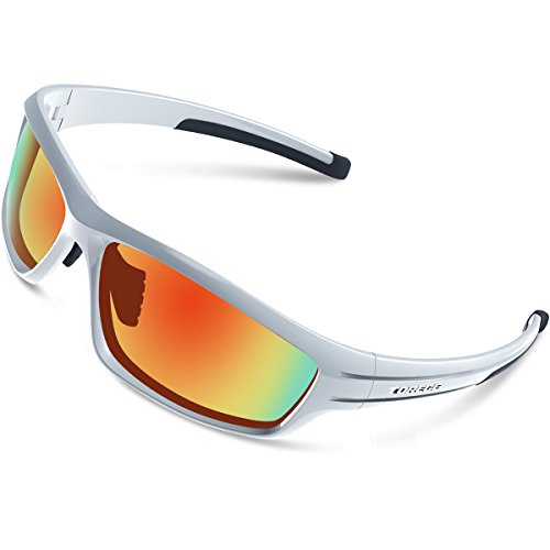 95180cae51 TOREGE Polarized Sports Sunglasses for Man Women Cycling Running Fishing  Golf TR90 Unbreakable Frame TR034 (Sliver Black Red)