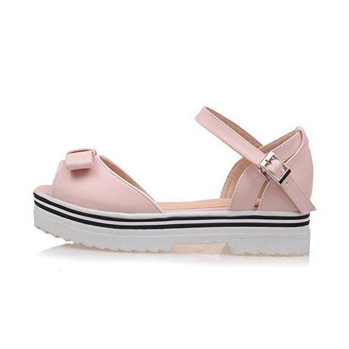 AmoonyFashion Womens Solid Low Heels Buckle Peep Toe Platforms & Wedges Pink FUgAAfSUp