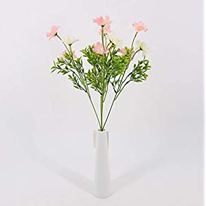 Skyseen 5Pcs Artificial Azalea Fake Faux Bouquet Home Garden Table Patio Wedding Party Decoration (Champagne) 55