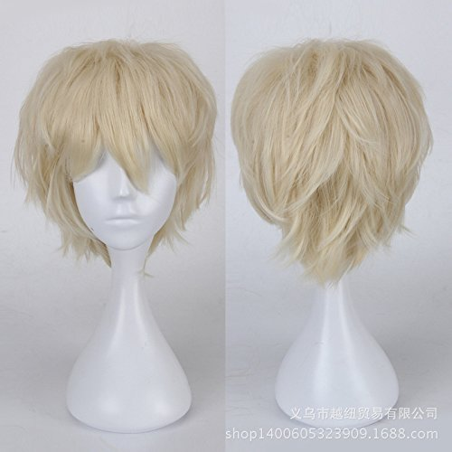 [S-noilite Short Anime Cosplay Wig Ghost Costume Layered Hair Linen Blonde Full Wigs Real Fancy Pixie Halloween] (Pixies Costumes)