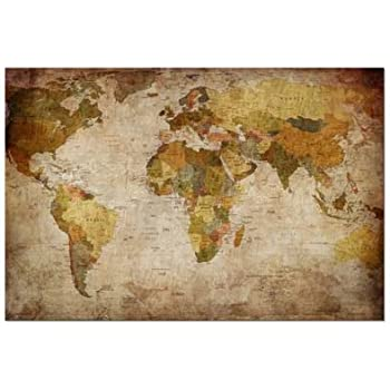 Amazon extra large world wall map physical canvas prints wieco art world map extra large modern gallery wrapped contemporary giclee canvas print pictures photo gumiabroncs Images