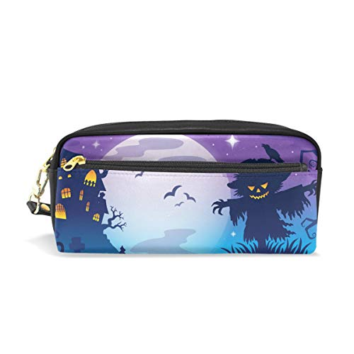MERRYSUGAR Pencil Case Halloween Scarecrow Purple Cosmetic Makeup Zipper Bag Pencil Bag for Girls Boys School Kids Stationery Pouch Bag Leather Large Capacity -