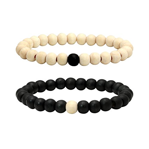 (MILAKOO 2 Pcs 8mm Wood Beads Bracelet for Men Women Distance Bracelet Elastic )