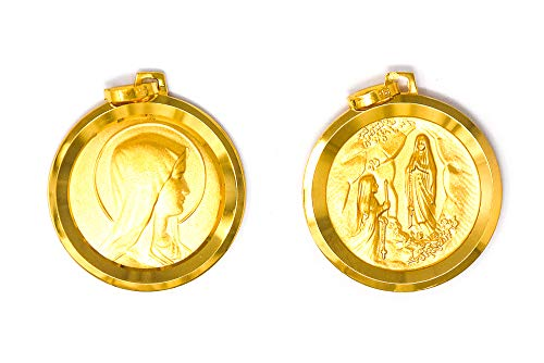 Lourdes Apparition Pendant/Medal - Depicting Our Lady of Lourdes and Bernadette, with Lourdes Prayer Card.