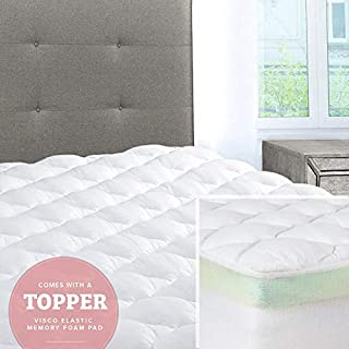 ExceptionalSheets Mattress Pad with Fitted Skirt - Double Thick Extra Plush Mattress Topper - 2 Pieces | Hypoallergenic Mattress Pads | Luxury Hotel Mattress Pad + Memory Foam Topper, Queen (B00FX0QMLI) | Amazon price tracker / tracking, Amazon price history charts, Amazon price watches, Amazon price drop alerts