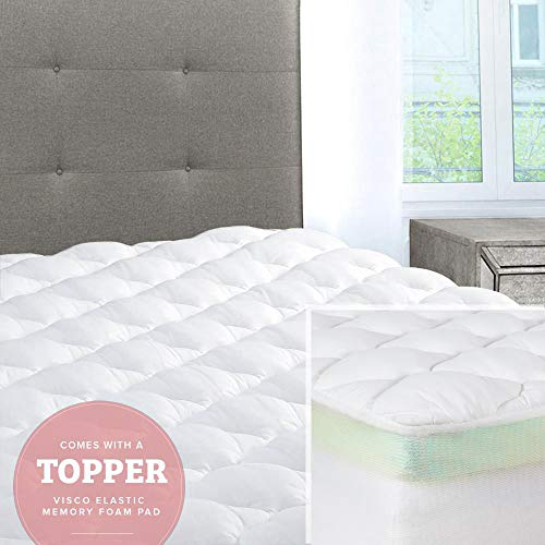 (ExceptionalSheets Mattress Pad with Fitted Skirt - Double Thick Extra Plush Mattress Topper - 2 Pieces | Hypoallergenic Mattress Pads | Luxury Hotel Mattress Pad + Memory Foam Topper,)