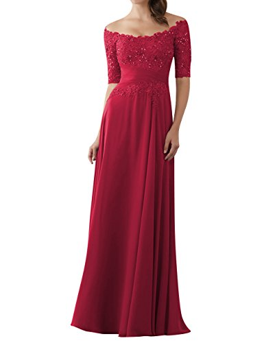 Evening Dresses Mother of The Bride Gowns with Sleeves Lace Long Chiffon Beaded Wine Red US24W (Dresses Prom Red Lace 2015)