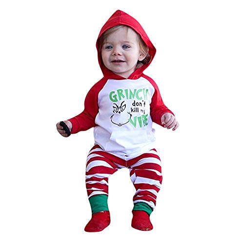 Clearance! 0-24 Months Toddler Infant Baby Girl Boy Christmas Letter Hooded Tops Sweatshirts Striped Pants Set Outfit (White, 18-24 Months)