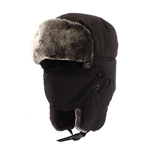 Colleer Winter Trooper Trapper Hat Cap Ushanka Russian Hats Ear Flaps Strap with Windproof Facemask