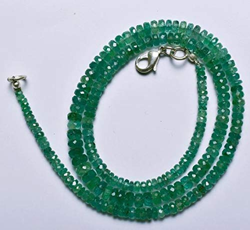 GemAbyss Beads Gemstone 1 Strand Natural 17 Inches Stands AAAA Gems Quality 100% Natural Emerald Transparent Faceted Roundels Beads Necklace 2.5 to 5 MM Code-MVG-22280