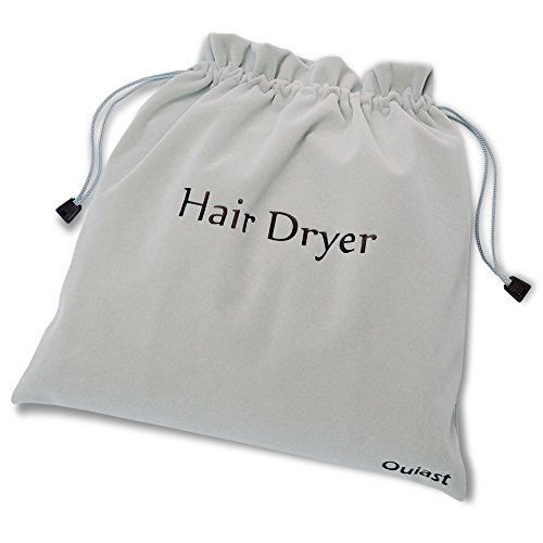 Velvet Bag, Extra Big Size 13.5×13.5 inch Hair Dryer Bag, Luxury Drawstring Storage Bag for Hair Dryer, Curling Iron and Hair Straightener(Gray)