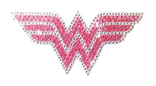 DC Comics Wonder Woman Pink Medium Car Window Decal Sticker (Bling Logo Crystal Studded Wonder Woman) -