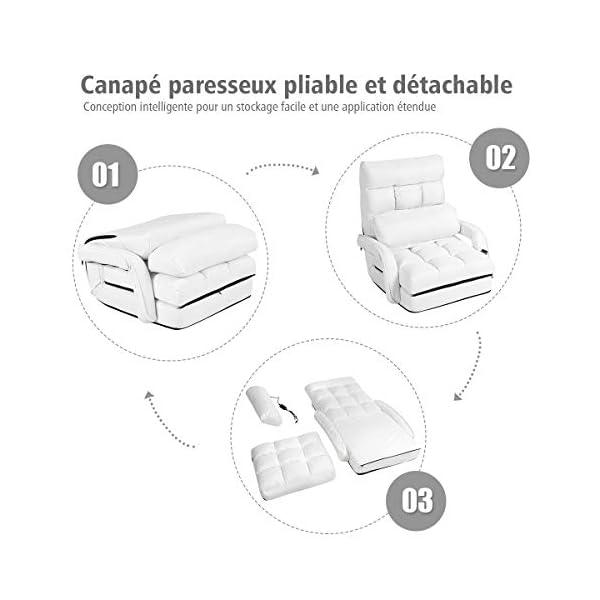 Costway Fauteuil Convertible à 1 Place, Inclus Oreiller avec Masseur, 5 Positions Ajustables, Idéal pour Salon,Bureau,Chambre etc.(Blanc)