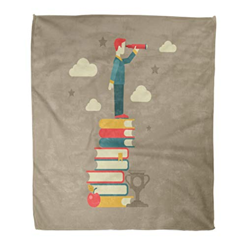 Semtomn Flannel Throw Blanket Flat Education Future Vision Man Looking Through Spyglass Stands Soft for Bed Sofa and Couch 60x80 Inches ()