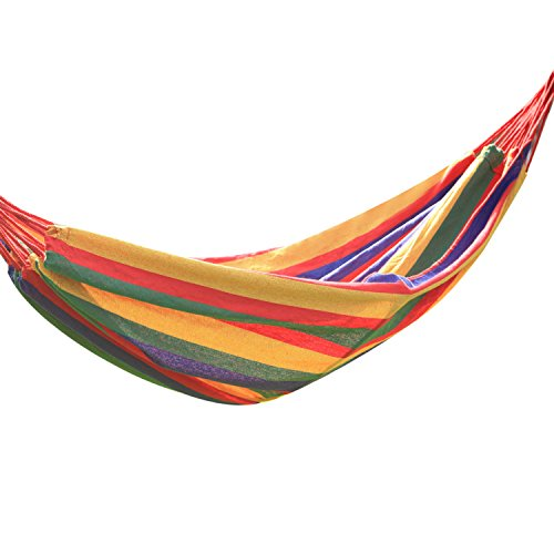 Adeco Naval-Style Cotton Fabric Canvas Hammock Tree Hanging Suspended Outdoor Indoor Bed Cayenne Color, 63