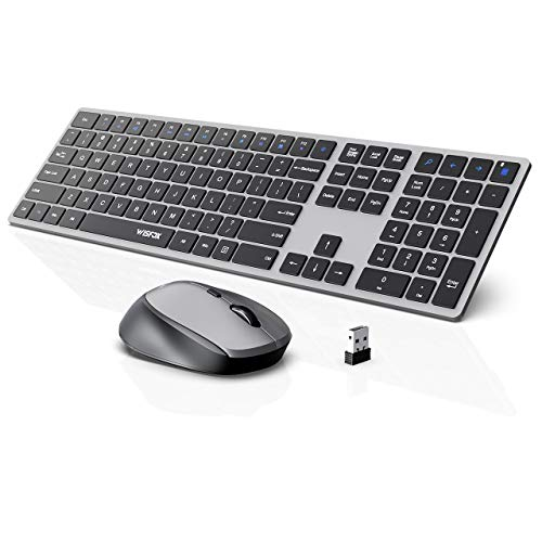 Wireless Keyboard and Mouse Combo, WisFox 2.4G Full-Size Slim Thin Wireless Keyboard Mouse for Windows, Computer, Desktop, PC, Laptop Mac