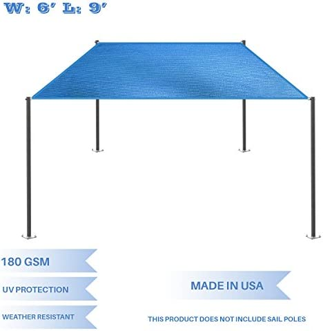 E K Sunrise 6 x 9 Blue Rectangle Sun Shade Sail Outdoor Shade Cloth UV Block Fabric,Straight Edge-Customized