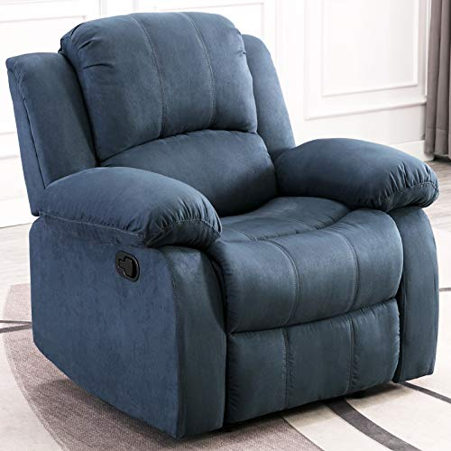 ANJ Recliner Chair Overstuffed Heavy Duty Recliner, Soft Warm Fabric Home Theater Seating – Manual Chairs Recliner Single Sofa, Blue