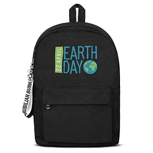 - 22 April Happy Earth Day Women Men Water Resistant Black Canvas School Backpack Laptop Backpack