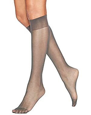 Hanes Hosiery Silk Reflections Silky Sheer Reinforce Toe Knee High 775 (Town Taupe/One Size) Pack of Two