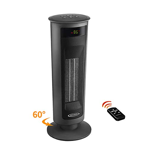 ASTERION Indoor Electric Space Heater, Portable Oscillating Ceramic Heater with Adjustable Thermostat, Timer Energy Efficient Heater with Overheating Tip Over for Office Home Bedroom, 1500W Black (The Best Space Heaters Energy Efficient)