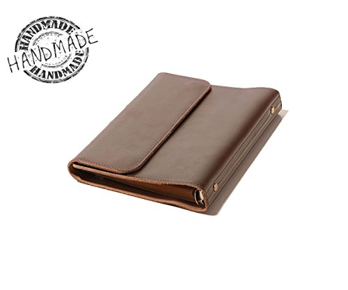 (ZE Handmade Luxury Genuine Leather Portfolio 6-Ring A5 Size Loose-Leaf Notebook(Dark Brown))