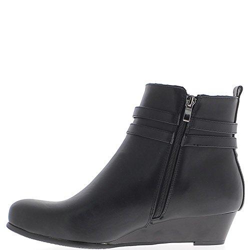 Cuña negra botas de gran tamaño en el tacón de 3,5 cm