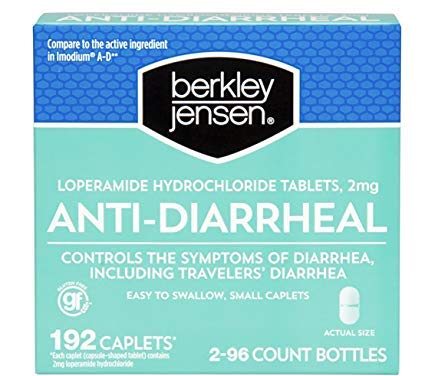 Berkley Jensen Anti-Diarrheal Medicine Loperamide Hydrochloride Tablets 2 mg 192 Caplets Per Order (Limited Edition) by Berkley and Jensen