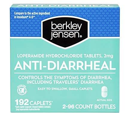 Loperamide Caplets 2mg Controls - Berkley Jensen Anti-Diarrheal Medicine Loperamide Hydrochloride Tablets 2 mg 192 Caplets Per Order (Limited Edition)