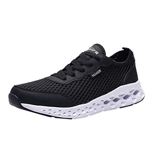Golike Men's Sneakers Hollow Mesh Breathable Lightweight Casual Non-Slip Outdoor Running Fitness Jogging Walking Shoes Black