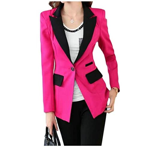 Fulok Womens Slim Fit Office Contrast Suit Lapel Blazer Coat Jacket hot sale