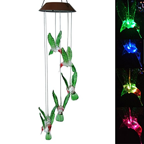 Topspeeder Color-Changing LED Solar Mobile Wind Chime LED Changing Light Color Waterproof Six Hummingbird Wind Chimes For Home Party Night Garden Decoration Solar Hummingbird Lights