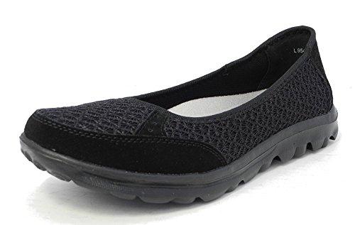 Womens Ladies Lightweight Leather Mesh Shoes Pumps Removable Memory Foam Insoles Sizes 3-9 Black kmwsoU