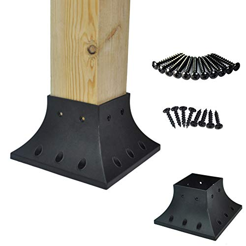 (Myard PNP114040 4x4 (Actual 3.5x3.5) Inches Post Base Cover Skirt Flange with Screws for Deck Porch Handrail Railing Support Trim Anchor (Qty 1, Black))