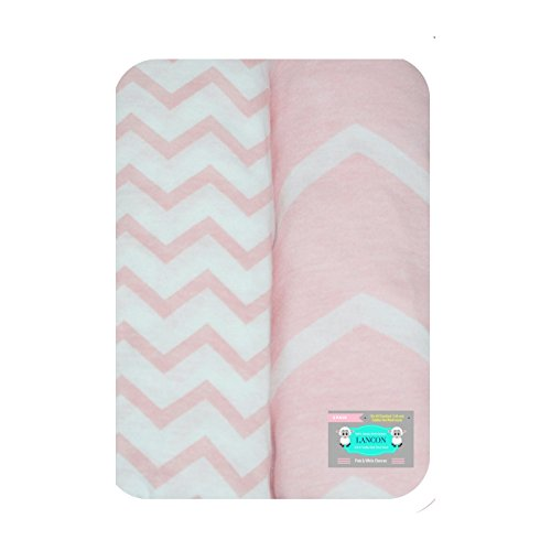 Baby Crib Sheets, Toddler Bedding Sheets by LANCON Kids - 2 Pack of Ultra Soft, Premium 100% Jersey Knit Cotton Fitted Sheets (Pink & White Chevron)
