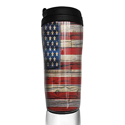 - coffee cups with lids 16 oz 4th of July,Wooden Planks Painted as United States Flag Patriotic Country Style, Red Beige Navy Blue 12 oz,coffee packs for single cup