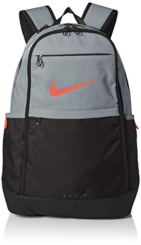Nike Brasilia Training Backpack, Extra Large Backpack Built for Secure Storage with a Durable Design, Cool Grey/Black/Habanero Red