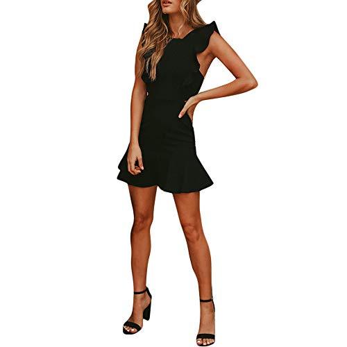 Naladoo 2019 Women Casual Mini Dress Solid Round Neck Ruffle Trim Backless Dress Black (Ruffle Convertible Mini Dress)