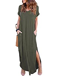 Women's Casual Pocket Beach Long Dress Short Sleeve Split Loose Maxi Dress
