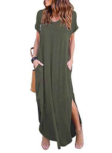 HUSKARY Women's Casual Pocket Beach Long Dress Short Sleeve Split Loose Maxi Dress (Medium, Army Green)