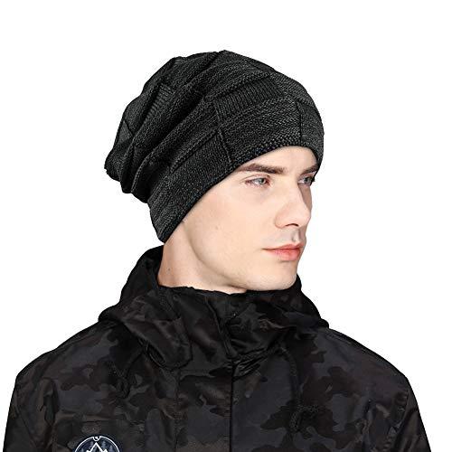 Toplink Men Beanie Hat Wool Cable Knit Winter Beanie Hat Winter Cap Thick Warm HatsMen & Women (Black)