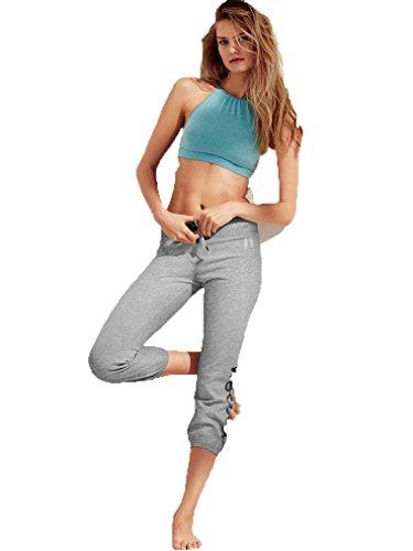 Victoria's Secret Fleece Gym Capri Heather Grey/Sequin Vsecret Large