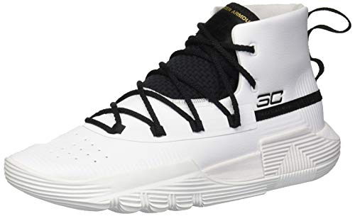 Under Armour Boys' Grade School SC 3Zer0 II Basketball Shoe, White (100)/Black, 5 (Best Place For Basketball Shoes)