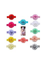 12pcs Baby Girls Headbands Chiffon Flower Hair Lace Band for Toddler Babies Kids