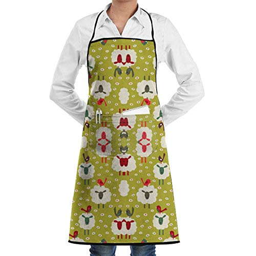 (ABOUtshoc Cooking Aprons Sheep and Birds Wallpaper 2909 Apron Kitchen Cooking Commercial Restaurant Apron for Women and Men-Perfect for Gifts)