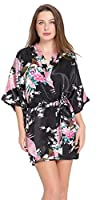 Aibrou Women's Kimono Robes Satin Peacock and Blossoms Silk Nightwear Short Style