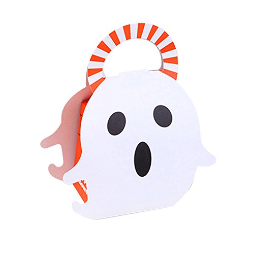 INFILM Halloween Trick or Treat Bags, 20pcs Portable Ghost Candy Boxes Mini Trick Treat Halloween Candy Buckets for Christmas Kids Birthday Decoration]()